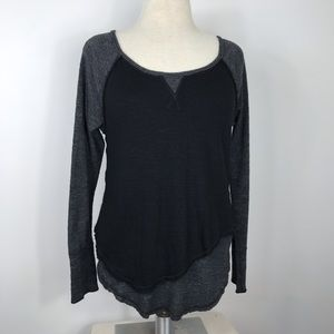 We The Free Asymmetrical Raw Seam Knit Top